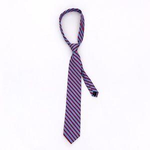 NAUTICA Men's 100% Silk Red Blue Striped Neck Tie